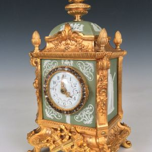 ANTIQUE WEDGWOOD MOUNTED ORMOLU MANTEL CLOCK