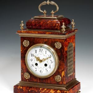 ANTIQUE TORTOISESHELL MANTEL CLOCK