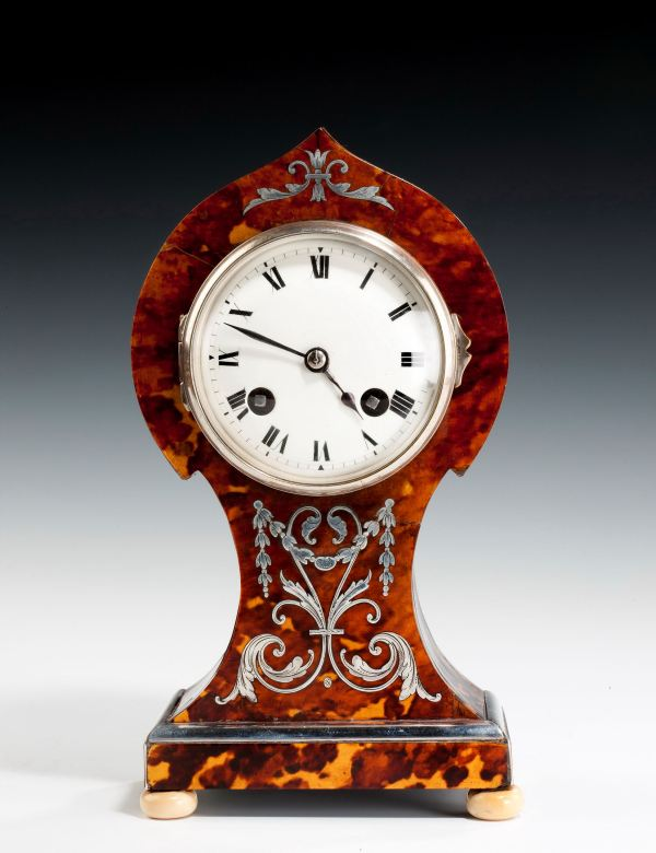 ANTIQUE TORTOISESHELL AND SILVER BALLOON SHAPED MANTEL CLOCK