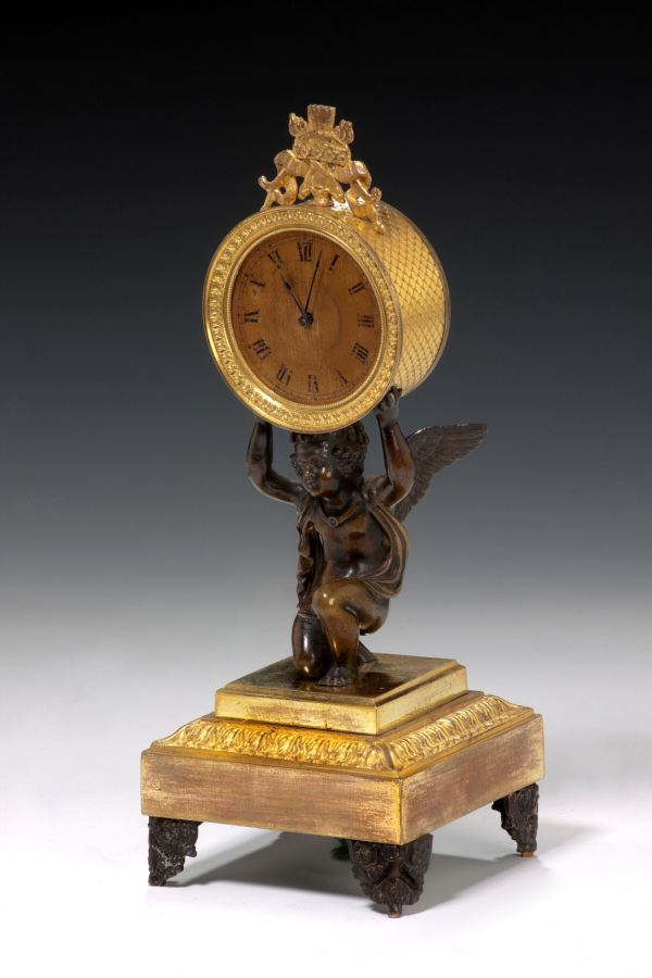 ANTIQUE ENGLISH REGENCY BRONZE MANTEL OR DESK CLOCK