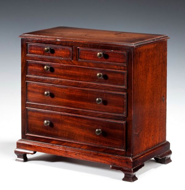 ANTIQUE MINIATURE MAHOGANY CHEST OF DRAWERS