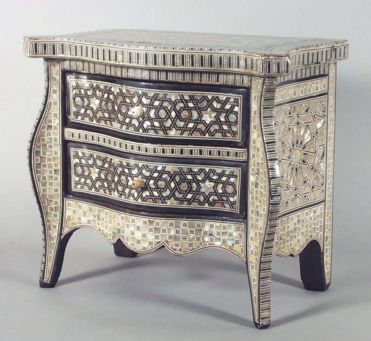 Antique Miniature Mother Of Pearl Commode Richard
