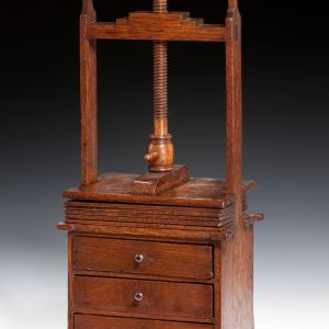 ANTIQUE MINIATURE OAK CHEST OF DRAWERS AND PRESS