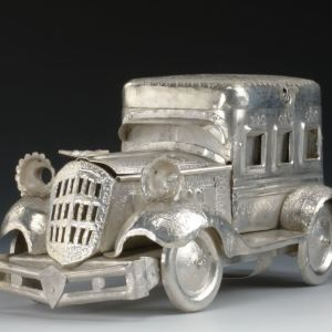 ANTIQUE SILVER PLATED MODEL OF A CAR