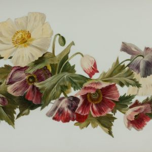 ANTIQUE OIL PAINTING ON GLASS OF FLOWERS