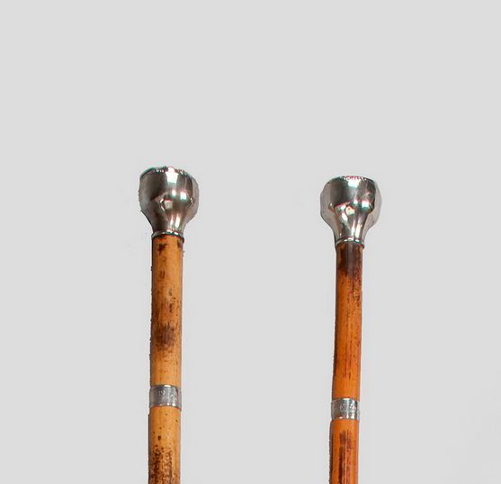 RARE PAIR OF ANTIQUE MALACCA OTTER HUNTING STAVES