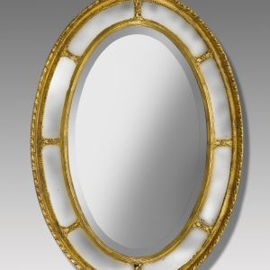 ANTIQUE GILT OVAL MARGINAL PLATE MIRROR