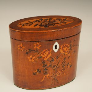 ANTIQUE OVAL HAREWOOD TEA CADDY