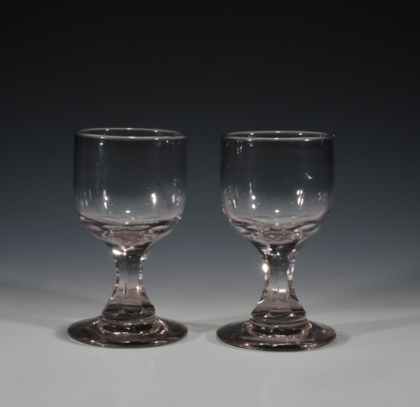 ANTIQUE PAIR OF GLASS RUMMERS
