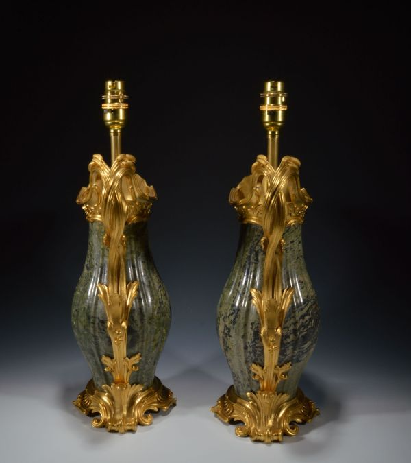 pair-antique-table-lamps-French-gilt-bronze-marble-ewers-vases-Jean-Claude-Duplessis-DSC_3047