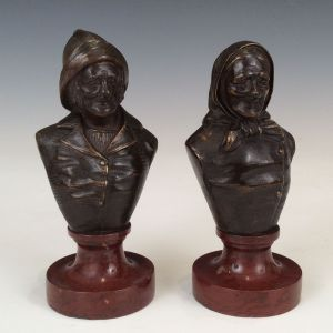 PAIR OF BRONZE BUSTS BRETON FISHERMAN