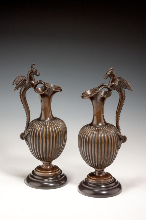 FINE PAIR OF ANTIQUE PATINATED BRONZE URNS
