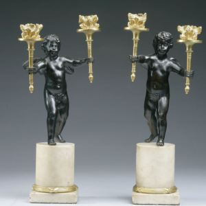 ANTIQUE PAIR OF REGENCY BRONZE MARBLE & ORMOLU FIGURAL CANDELABRA