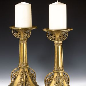 ANTIQUE PAIR OF LARGE ARTS AND CRAFTS BRASS CANDLESTICKS
