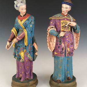 ANTIQUE PAIR OF LARGE CHINOISERIE FIGURES MAN AND WOMAN