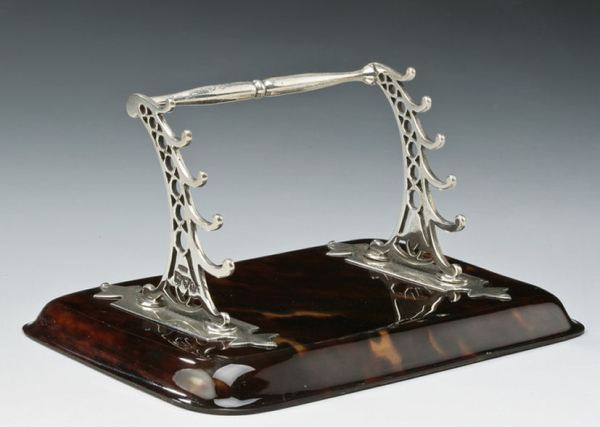 ANTIQUE SILVER AND TORTOISESHELL PEN STAND