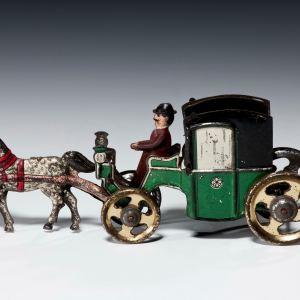 ANTIQUE PENNY TOY OF A CARRIAGE & HORSE BY FISCHER