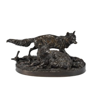 PIERRE JULES MENE ANTIQUE BRONZE TWO FOXES RENARDS