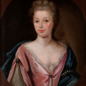 DECORATIVE 18TH CENTURY FEMALE PORTRAIT OIL PAINTING