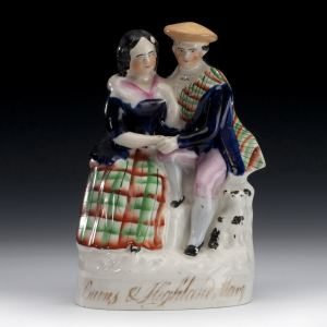 ANTIQUE STAFFORDSHIRE FIGURE OF ROBERT BURNS AND HIGHLAND MARY