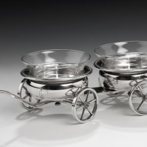 ANTIQUE SILVER PLATED SAUCE COASTER TROLLEY