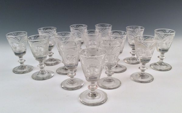 ANTIQUE SET OF FOURTEEN IRISH SHERRY GLASSES