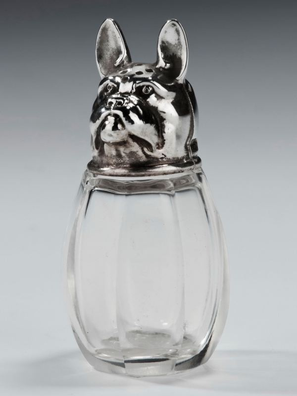 ANTIQUE SILVER AND GLASS DOG PEPPER POT