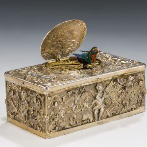 ANTIQUE SILVER SINGING BIRD BOX