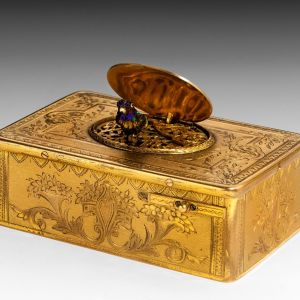 ANTIQUE GILT METAL SINGING BIRD BOX BY BONTEMS