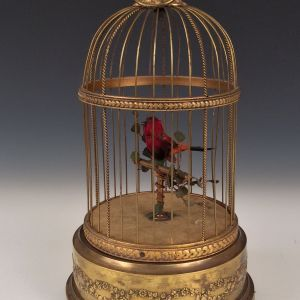 ANTIQUE SINGING BIRD IN CAGE