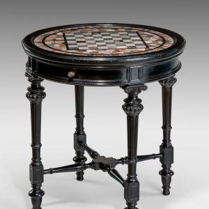 ANTIQUE CIRCULAR DEVONSHIRE SPECIMEN MARBLE CHESS TOP TABLE