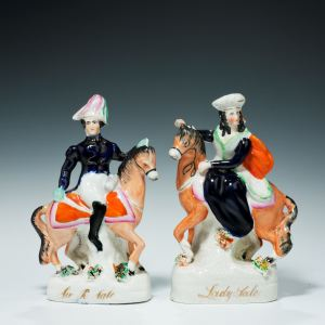 PAIR ANTIQUE STAFFORDSHIRE FIGURES OF LORD AND LADY SALE