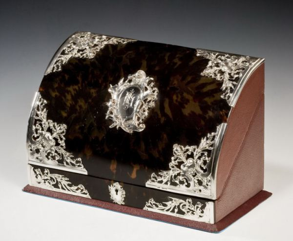 ANTIQUE SILVER AND TORTOISESHELL STATIONERY BOX