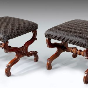 ANTIQUE PAIR OF CARVED WALNUT STOOLS