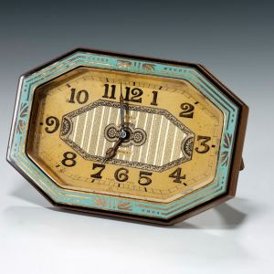 ART DECO GILT BRONZE & ENAMEL STRUT CLOCK