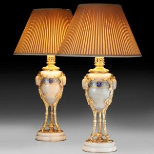 ANTIQUE PAIR OF FRENCH ONYX TABLE LAMPS
