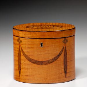 ANTIQUE OVAL SATINWOOD TEA CADDY