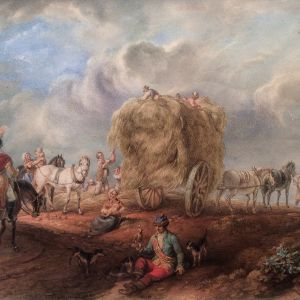18TH CENTURY DUTCH SCHOOL WATERCOLOUR HARVEST SCENE