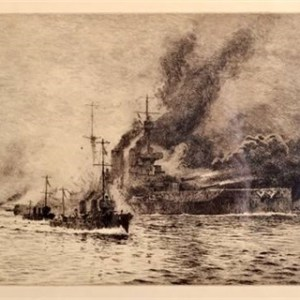 WILLIAM LIONEL WYLLIE-ETCHING-HMS QUEEN ELIZABETH