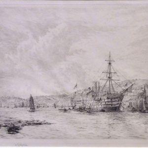 WILLIAM LIONEL WYLLIE - ETCHING - HMS BRITANNIA DARTMOUTH