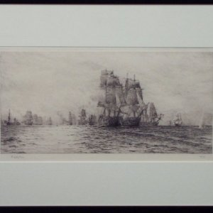 WILLIAM LIONEL WYLLIE-ETCHING-BATTLE OF TRAFALGAR