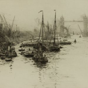 WILLIAM LIONEL WYLLIE - ETCHING - DUTCH EEL BOATS THE POOL OF LONDON
