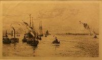 WILLIAM LIONEL WYLLIE-ETCHING-HUDSON RIVER NEW YORK