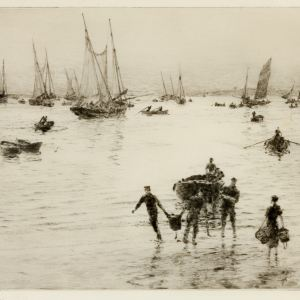 WILLIAM LIONEL WYLLIE-ETCHING-LANDING THE CATCH
