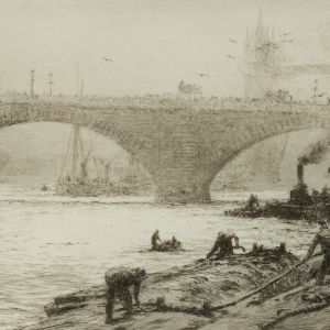 WILLIAM LIONEL WYLLIE-ETCHING-LONG SHOREMEN POOL OF LONDON