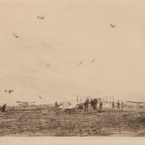 WILLIAM LIONEL WYLLIE - ETCHING - MARKHAM AERODROME 1918