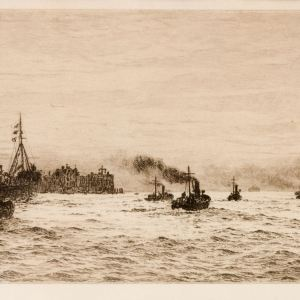WILLIAM LIONEL WYLLIE - ETCHING - SMALL SHIPS LEAVING PORTSMOUTH HARBOUR