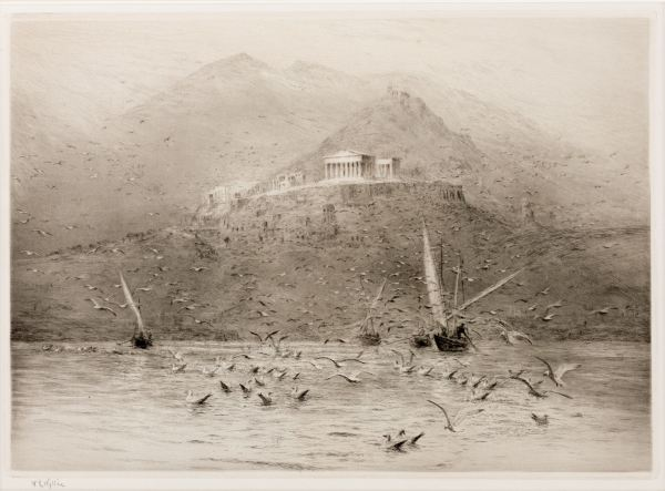 WILLIAM LIONEL WYLLIE - ETCHING - THE POSEIDON TEMPLE ATTICA