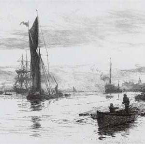 WILLIAM LIONEL WYLLIE-ETCHING-RIVER OF GOLD