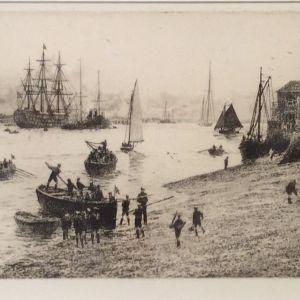 WILLIAM LIONEL WYLLIE - ETCHING - SEASCOUTS PORTSMOUTH